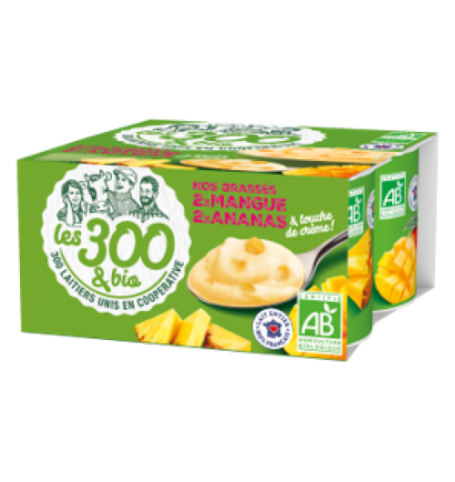 Mango pinapple yogurt - Fruit yogurts made with 100% french whole milk and a touch of cream. In a 4x125g pack.  Creamy and deliciously fruity, these yogurts come with pieces of mango and pineapple and are perfect for an exotic break.