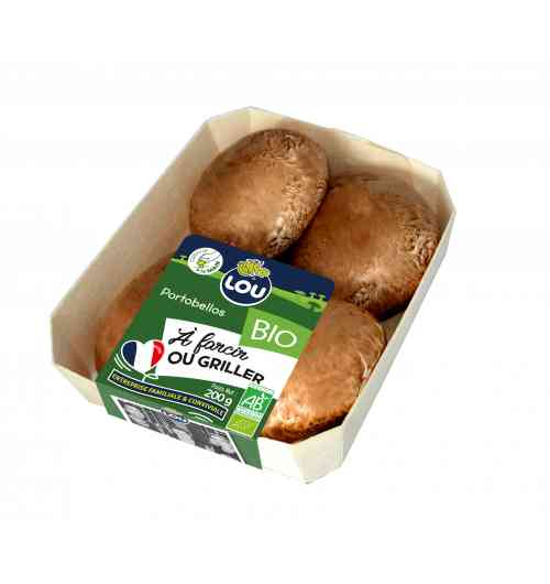 Portobellos 200g - Portobello is a big and generous brown mushrooms, grown longer for a strong and concentrate taste. It is the perfect mushrooms for stuffing and barbecue use. It is a very popular mushroom in Great Britain, America, Italy but not so well known in France; At LOU's mushroom farm we grow them and make them famous. Organic, pesticides free.