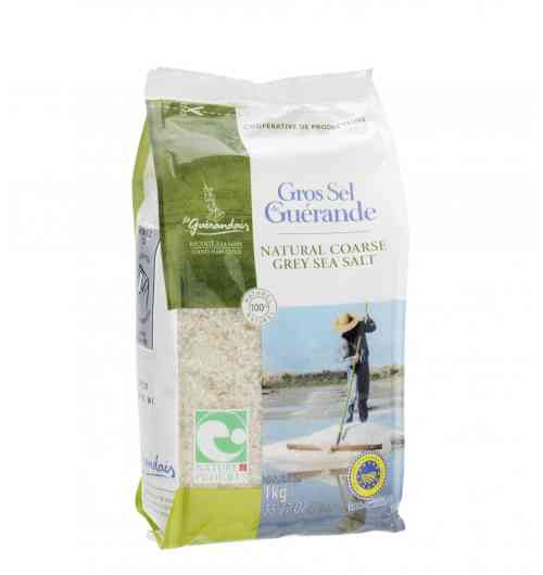 Coarse sea salt 1kg Bag - Our Guérande coarse salt, natural product of the ocean, the sun and the wind, is carefully hand-harvested using traditional methods. It is unrefined, unwashed, and contains no additive.