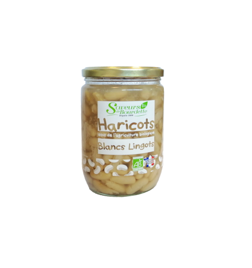 ORGANIC NATURAL WHITE BEANS - Tasting advice: Warm the closed jar for 10 minutes in a double boiler or heat the contents in a saucepan over low heat. Enjoy your meal !    ALL OUR PRODUCTS ARE WITHOUT PRESERVATIVE OR COLORING  Ingredients: White beans French ingots *, water, salt. * Products from organic farming