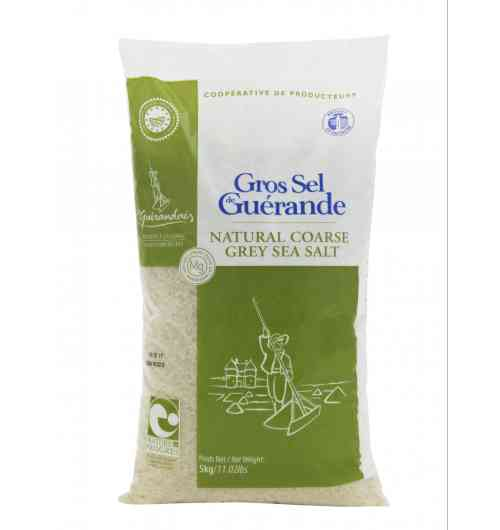 Coarse sea salt 5kg Bag - Our Guérande coarse salt, natural product of the ocean, the sun and the wind, is carefully hand-harvested using traditional methods. It is unrefined, unwashed, and contains no additive.