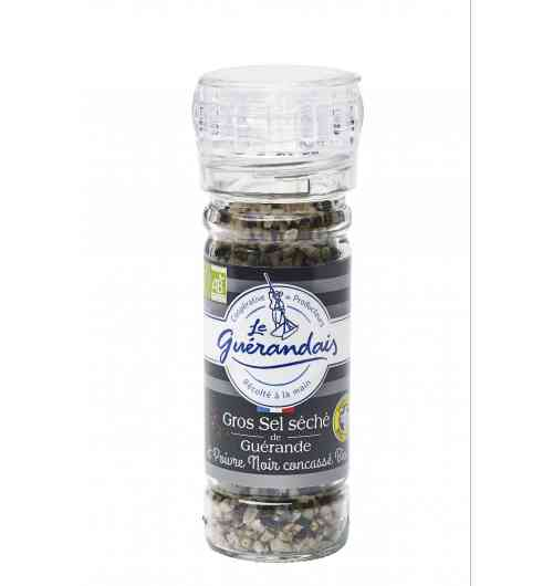 Grinder of dried coarse sea salt and organic black pepper - This mixture of Guérande  dried coarse sea salt and organic black pepper will gently add flavor to any dish.