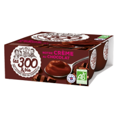 Chocolate cream dessert - A cream dessert made with 100% french whole milk and its touch of cream. In a 4x95g pack.  The softness of the whole milk for a generous dessert. The chocolate taste of this cream dessert will entertain food lovers.