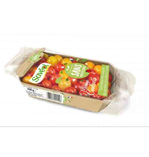 Pesticide-free colour mixing 350g - The 350g Colour Mix combines several colours of cherry tomatoes and Coeur-de-Pigeon. This product is guaranteed without synthetic pesticide treatments from the flower to the plate.