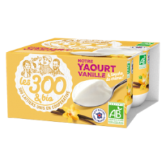 Vanilla yogurt - Firm vanilla yogurts made with 100% French whole milk and a touch of cream. In a 4x125g pack.  We fall for this vanilla yogurt and its natural flavor. Generous and melty.