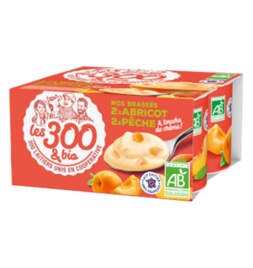 Peach apricot yogurt - Fruit yogurts made with 100% french whole milk and a touch of cream. In a 4x125g pack.  A creamy yogurt with fruit pieces. 2 flavors : peach or apricot, delicious for sunny days!