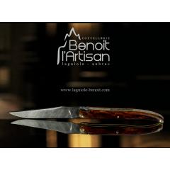 laguiole knife damas blade, wood handle