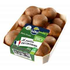 Chesnuts 200g - The incredible brown mushroom, cousin of the white one, more tasty and firm, a wild taste. Once you try it you can't stop it, it is an healthy and real addiction ! At LOU's they grow pesticides free and they are ORGANIC. To be consume daily.
