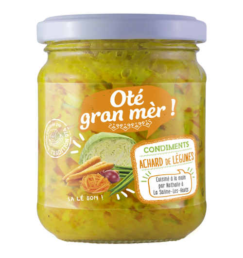 our range of achards - Achard is a Reunionese condiment, prepared à la Marmitte. It is seasoned with spices such as ginger, pepper, and chili. it can be enjoyed as an aperitif on toast, as an accompaniment to rice, pasta, potatoes ...