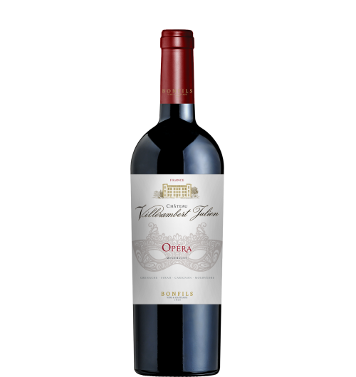 Vignobles Bonfils - Château Villerambert - Opéra - GRAPES VARIETIES Grenache Noir 50%, Syrah 25%, Carignan 15%, Mourvèdre 10%  APPELLATION AOP Minervois Red  SOILS 11 types of soils  The vineyard of Château Villerambert stretches over 100 hectares in AOP Minervois. Gallo-Roman traces which were found around the property lead to believe that the first vines were planted in the 4th century AD. According to archives, Château Villerambert already owned a vineyard in 1231. Since 1858, 6 generations of the Julien family have successfully run the property, which is part of Vignobles Bonfils since 2014.  TERROIR The vineyard is composed of a mosaic of terroirs, it gives mineral characteristics to the wines. Planted between 190 and 260m above sea level, the different climate brings freshness and complexity to the wines. We count 11 different terroirs at Villerambert: Red earth, flint clay and limestone, marl, clay and limestone magnesia, clay and limestone, marble, lime sandstone, graves clay and limestone, clay, sand and schist.  VINIFICATION The grapes are night harvested, lightly crushed and passed into vats for a maceration period of 4 weeks, and up to 6 weeks for the most mature Syrah and Grenache. Made in the traditional manner, with the grape varieties being vinified separately, pumping over and racking . The wine is aired and the lees regularly stirred during the whole post fermentation maceration period for greater richness and to soften the tannins.  The Grenache is vinified in stainless steel tanks protected from the air, whilst the Syrah and the Carignan benefit from micro-oxygenation to preserve all the fruit aromas. The final blending takes place in June.  TASTING NOTES Opera delights the eye with its glimmering ruby robe. Complex fruity notes of strawberry, raspberry and blackberry lifted by a hint of spice reveal this to be a wine of immense character.   SOMMELIER'S ADVICE Wine and food pairing: grilled lamb chops, fruit or almond dessert, Thai-style vegetabl