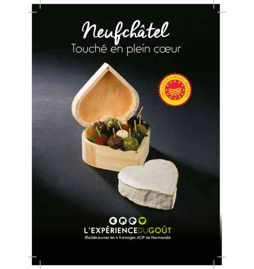 """Neufchâtel - Soft cheese, made with cow's milk, soft-ripened cheese, heart-shaped. Under the European """"Protected Designation of Origin"""" official label"""