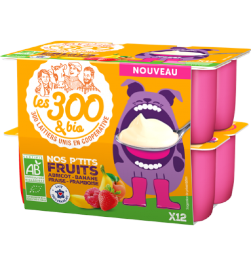 Our little fruits - Cottage cheese with fruit made with 100% french whole milk and a touch of cream. In a 12x50g pack. Cottage cheese with apricots, bananas, strawberries or raspberries  to entertain every little hunger.