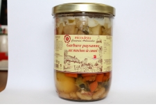"""PEASANT GARBURE AT DUCK WINGS - <p><strong>Presentation</strong> : jar 765g (for 2 persons)</p> <p><strong>Ingredients</strong> : juice cooked (poultry broth, spicy, aromatics herbs, onions), duck wings (20%), carrots, potatoes, beans, turnips, cabbages, leeks, diced bacon, salt, pepper, spicy.</p> <p><strong>Preparation</strong> : The """"Garbure"""" is prepared at the heart of gastro,omic region. The duck wings are brown in the fat and we add the salter vegetables.</p> <p><strong>Way of tasting the product</strong> : Reheat in a pan over the slow heat. Enjoy with a red wine of """"Madiran"""".</p>"""