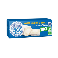 Our creamy lingot - Our creamy ingot with cow milk is made with 100% french whole milk and a touch of cream. In a 170g pack.
