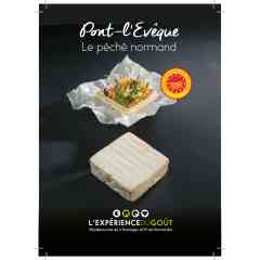 """Pont-l'Evêque - Soft cheese, made with cow's milk, smear-ripened cheese, square-shaped. Under the European """"Protected Designation of Origin"""" official label"""