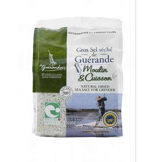 Bag of dried coarse sea salt 500g - Our Guérande coarse salt, natural product of the ocean, the sun and the wind, is carefully hand-harvested using traditional methods. It is unrefined, unwashed, and contains no additive.