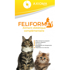 FELIFORME - <p>The Feliforme is a nutritional dietary supplement composed of spring water, seawater and plant extract.</p> <p>These plants are harvested and macerated directly in the field to keep all the assets (7 times + than if they were transported). Our specificity is to use the totum of these plants, ie the whole plant, from the root to the leaves / fruits. So we get a synergy of assets; unlike most laboratories that prefer to target a specific active ingredient.</p> <p>We use from 3 to 250 plants per product.</p> <p>To revitalize your cat or to maintain its vitality, it is essential to sow digestive system with a complex of fresh and wild plants in an assimilable form to favorably orient its metabolism and support the main functions.</p>
