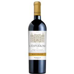 """Vignobles Bonfils - Château l'Esparrou - Mas Grand - GRAPES VARIETIES Syrah 40%, Grenache 40%,  Carignan 20%  APPELLATION AOP Côtes du Roussillon Red  SOILS Round river stones  & clay hillsides   On the shores of the Mediterranean rises an island with flamboyant vegetation. Born from a fragmentation of the Pyrenees, this sandy and pebbled setting hosts a 62-hectare vineyard. It is here that Château L'Esparrou presides. This castle, built by the famous Danish architect Petersen, was the residence of many artists such as Dufy and Cocteau.  TERROIR This terroir, already distinguished in 1813 by the renowned """"Guide du Voyageur en France"""", recognized it as one of the great wines of Roussillon. Its thick rolled pebble floor stores heat and releases it after dark. The breath of the Tramontane cleanses the vines. Rich, complex and voluminous, the wines of Esparrou remain faithful to this exceptional terroir.  VINIFICATION Carignan, Grenache and Syrah are hand-picked and vinified in whole bunches for the Carignan (old vines of over 30 years old), destemmed for the Grenache and the Syrah. Cold pre-fermentation maceration. Ageing: six months in tank and six to twelve months in oak barrels then matured in bottle in a temperature controlled cellar.  TASTING NOTES Lovely garnet red color with flashes of dark orange. The oak characters are perceptible on the nose, with aromas of spice and wild herbs. The attack is lively with liquorice notes and firm but elegant tannins and a fine harmony between fruity and oaky notes.   SOMMELIER'S ADVICE Food and wine pairing: beef tournedos with morels, tomato curry, roasted vegetables and hummus, apple-caramel crumble.  Serving temperature: 16-18°C - decant 3 hours before serving Aging potential: Up to  6 years"""