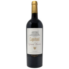 """Vignobles Bonfils - Château Capitoul - Grand Terroir - red - GRAPES VARIETIES Syrah 60%, Grenache Noir 40%, Carignan 20 %   APPELLATION AOP La Clape Red  SOILS Urgonian limestone, Limestone clay and stony soils  Château Capitoul is a gem which lies between the sea and the """"garrigue"""". The view on the vineyards loosing themselves in the infinity of the valley before melting into the horizon between salt lakes and blue mountains is breathtaking. The vineyard of Chateau Capitoul goes back to the 14th century, when it was exploited by the Cathedral of Narbonne, which gave its name to the Chateau.   TERROIR Ideally located in the middle of the Languedoc's largest natural site, viticulture is practiced and reasoned, producing wines of highest quality and reflecting the best that the """"Appelation La Clape"""" has to offer. In 2015, the appellation La Clape was accredited """"Grand Cru"""", thus joining other prestigious, internationally renowned French appellations.  VINIFICATION The château possesses an ultramodern cellar whose original architectural style is reminiscent of a ship. The blend is for the most part Syrah, with Grenache Noir and Carignan, picked by hand and hand sorted both before and after destemming. Skin maceration last 15 days, with manual cap punching and strict temperature control – between 22 and 24°. The wine is then matured in cement vats for 12 months before being bottled.  TASTING NOTES Deep red with ruby gleams, it is a wine that offers up its distinguished and powerful aromas progressively, in a harmony of black fruits and spices. The fresh, lively palate develops an elegant and complex structure, with silky tannins melting into toasted notes, black cherry, black olive and cigar box in a finish that is a precursor of the great potential of this cuvee, reminding us that patience is a virtue.  SOMMELIER'S ADVICE Food and wine pairing: beef fillet, pastry stuffed with chestnuts, with apple and hazelnuts, a platter of various cheeses.  Serving temperature: 16-1"""