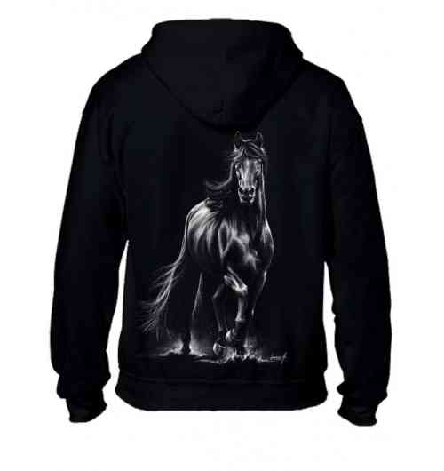 Hooded sweatshirt with zip - Mixed - Friesian horse trotting - Mixed sweatshirt, loose loose fit. Very comfortable to wear. With a new motif. Friesian. A magnificent horse.