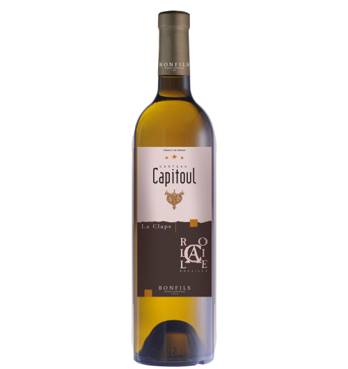 "Vignobles Bonfils - Château Capitoul - Rocaille - white - GRAPES VARIETIES Bourboulenc 40%,  Marsanne 30%, Grenache Blanc 20%, Roussane 5%, & Viognier 5%  APPELLATION AOC La Clape White  SOILS Urgonian limestone, limestone clay and stony soils   Château Capitoul is a gem which lies between the sea and the ""garrigue"". The view on the vineyards loosing themselves in the infinity of the valley before melting into the horizon between salt lakes and blue mountains is breathtaking. The vineyard of Château Capitoul goes back to the 14th century, when it was exploited by the Cathedral of Narbonne, which gave its name to the Château.   TERROIR Ideally located in the middle of the Languedoc's largest natural site, viticulture is practiced and reasoned, producing wines of highest quality and reflecting the best that the ""Appellation La Clape"" has to offer. In 2015, the appellation La Clape was accredited ""Grand Cru"", thus joining other prestigious, internationally renowned French appellations.  VINIFICATION Vinified in concrete vats with skin maceration, double settling and matured on fine lees for 3 to 6 months with stirring every day at the end of fermentation and then once a week during maturation.  TASTING NOTES The great aromatic complexity of this wine, underlined by subtle and elegant oaky notes, enables it to accompany an extraordinary range of dishes. The palate abounds in white fleshed fruit, peach, hints of spice, resin, and honey.   SOMMELIER'S ADVICE Food and wine pairing: sweet spice tagine, roasted turkey breast with vegetable stuffing or roasted corn on the cob with coconut and curry. Serving temperature: 12-14°C  Aging potential: 4 years"