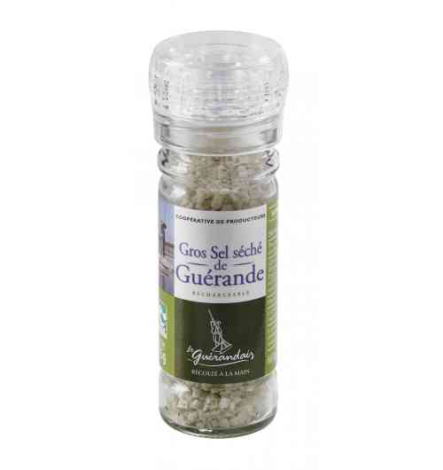 Grinder of coarse sea salt 75g - Our Guérande coarse salt, natural product of the ocean, the sun and the wind, is carefully hand-harvested using traditional methods. It is unrefined, unwashed, and contains no additive.