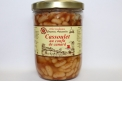 """CASSOULET IN THE DUCK CONFIT - <p><strong>Presentation</strong> : jar 765g (for 2 persons)</p> <p><strong>Ingredients</strong> : Beans, cooked juice (water, chicken broth, carrots, onions, spicy and tomatoes), coarse pork sausages (21.5%), duck confit (15%), salt ans peppers.</p> <p><strong>Preparation </strong>: The """"cassoulet"""" is prepared at the heart of a gastronomic region. The beans are soaking the day before, then salted and skimmed. We brown the duck meat in the duck fat. We enclose the coarse pork sausages and cooked juice with this.</p> <p><strong>Way of tasting the product</strong> : Reheat during 10 minutes in boiling water open the can and then pour the content in the plate. Sprinkle with bread-crumb and make brown 5 minutes at hot oven. Enjoy a glass of wine of """"Vacqueyras"""".</p>"""