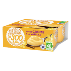 Vanilla cream dessert - A cream dessert made with 100% french whole milk and its touch of cream. In a 4x95g pack.  A vanilla cream dessert with whole milk and 100% gourmand with its good taste of custard.