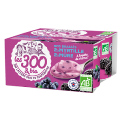 Blackberry / blueberry yogurt - Fruit yogurts made with 100% french whole milk and a touch of cream. In a 4x125g pack.  A creamy yogurt with pieces of blackberry and blueberry and a touch of cream for more softness and smoothness.