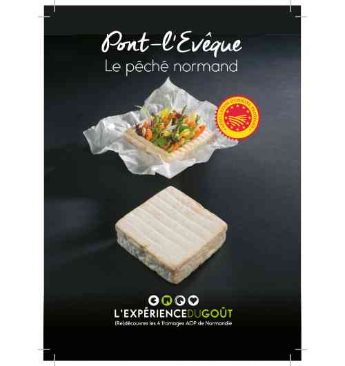 "Pont-l'Evêque - Soft cheese, made with cow's milk, smear-ripened cheese, square-shaped. Under the European ""Protected Designation of Origin"" official label"