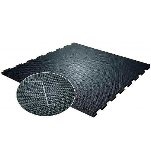 Rubber mat with opti-grip surface for walking area ProfiKURA P - animal-friendly softness, improved grip and even claw abrasion on all walking areas in the cattle house.  - optiGrip-surface with incorporated abrasive corundum and star-shaped profiling → high slip resistance  → contributes to correct claw form through even abrasion on all walking areas in the cattle house especially recommended if there is a risk that manure removal systems only achieve a moderate cleaning result (smear layer of drying dung), e.g. open cow housings, wide walking alleys, housings that are not fully occupied, ...  for slopes up to max. 6 % permanently stable in position and form puzzle compensates for natural thermal expansion, practically a seamless floor area the puzzle section parallel to the cleaning flaps is especially reinforced, so that the scraper can slide safely across it simple and fast installation of easy-to-handle single mats suitable for new construction as well as for renovation manure removal with scraper and driving on mats possible*  especially for areas with high solar radiation: profiKURA P SUN (with expansion slits in the mat) »  About corundum: the second hardest mineral after diamonds does not react with acids and bases: best precondition for use in slurry environments patented technology which has been well-proven in the KRAIBURG-group for many years in practice, an exceptionally high level of sure-footedness has been demonstrated Installation: The full benefits from using this product (slip resistance + optimal claw abrasion) are realised with full coverage in all walking areas in the cattle house  > balanced content of abrasive agent in the surface  Dimensions: Fits very exactly - width can be adapted in 2 cm increments  thickness: 24 mm width × length: in 2 cm increments from 96 cm to 500 cm (possibly several mat pieces are puzzled together) × 125 cm