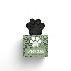 SOLID SHAMPOO FOR BLACK HAIR Pepet's - Inspired by the nature, this product associates the nourishing benefits of organic grape seed oil and coconut oil, with purifying and detoxifying properties of bamboo activated charcoal.   Activated charcoal is also an excellent 100% vegetal dye. Solid PEPET'S black hair shampoo contains also bhringraj ayurvedic powder, well known to prevent hair shed. It fortifies the root and make the cute small coat shine.  Ingredients properties > Repigmenting > Nourishing > Purifying  60ML – 2 fl oz