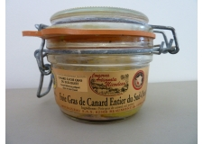 """DUCK FOIE GRAS OF SOUTH WEST OF FRANCE - <p><strong>Presentation</strong> : Jar weight 120g.</p> <p><strong>Ingredients: </strong>Duck foie gras whole of south-west """"<strong>France of origin"""", </strong>salt, pepper</p> <p><strong>Preparation: </strong>The duck foie gras whole is prepared at the heart of a gastronomic region with a way ancestral. We remove veins and nerves then seasoned and sterilized. This foie gras has been reward at """"Concours General Agricole"""" of Paris by the medal of bronze on 2011. Moreover, this product has the IGP approval.</p> <p><strong>Way of tasting the product:</strong> Serve lightly chilled. It is necessary to open the can at both quoted and slide over the plate to can realized thinly sliced. Enjoy with a white wine of country of """"Côtes de Gascogne""""</p>"""